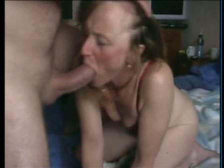mature gags on cock